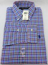 New Mens Polo Ralph Lauren Med 34/35 Long Sleeve Blue 100% Cotton Poplin
