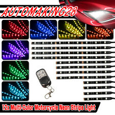 12PCS 15 COLOR LED MOTORCYCLE UNDER GLOW LIGHT KIT w KEYCHAIN REMOTE CONTROL USA