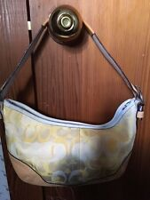 Coach Signature Yellow Leather Trim Hobo Shoulder Handbag Purse Bags