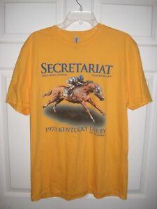 "Size Large SECRETARIAT - ""1973 Kentucky Derby"" - Yellow T-Shirt - MINT"