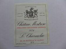 étiquette VIN  CHÂTEAU  MONTROSE 1974  grand cru classé SAINT-ESTEPHE