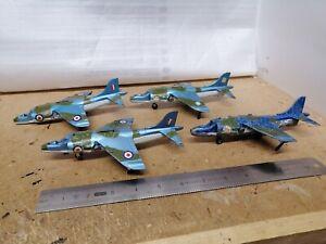 Dinky vintage  722 Harrier fighter jet plane.x 4For restoration joblot.