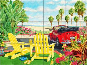 Tropical Glass Tile Mural Evelyn Jenkin Drew Kitchen Shower Backsplash RW-EJD002