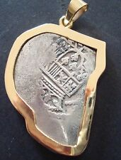 MEXICO 8 REALES SILVER COB COIN 14 K GOLD PENDANT BEZEL 1630-1658