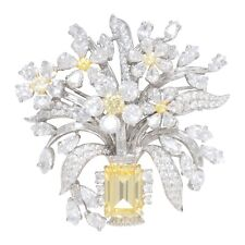 Yellow Emerald White Bouquet Flower 925 Sterling Silver Brooch Pin CZ-Magnifique