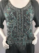 Johnny Was Gray Sheer Embroidery Boho Hippy Gypsy Prairie Tunic Blouse Top Small
