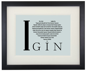 """A5 Quality Print  """"I Love Gin"""" Print, Mounted or Framed Picture Gift Bar Décor"""