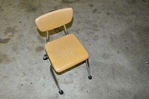 Vintage Mid Century Tan VIRCO Classroom  Chair Fiberglass Resin Chrome
