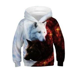 Wolf 3D Print Kids Boys/Girls Hoodies Sweatshirt Pullover Hoody Jumper Coat