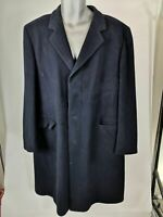 MENS ST MICHAEL NAVY BLUE BUTTON UP SINGLE BREASTED WOOL COAT JACKET L LARGE