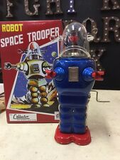 TIN TOY SPACE TROOPER LOST IN SPACE BLUE ROBOT NOT VINTAGE SPACE ROBOT BOX