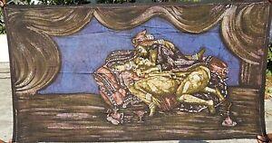 Kamasutra Tenture érotique indienne Batik Fait main Inde Coton Art Boho Bleu I