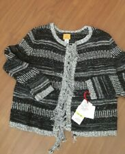 NWT RUBY RD open front knit sweater cardigan black silver cotton blend M