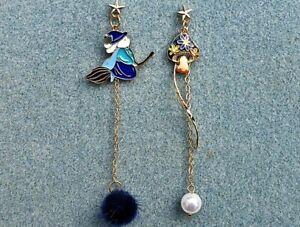 Flying Witch Toadstool Earrings, Mushroom, Broomstick, 925 Silver **UK Seller**