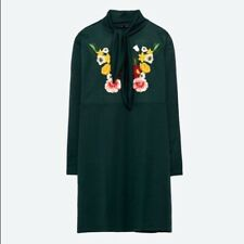 ZARA  green embroidered dress
