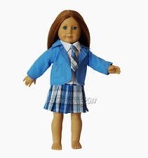 Free shipping! New Doll Clothes fits 18'' American Girl Doll blue School Uniform