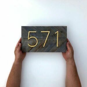 125mm Golden Floating Modern House Number Satin Brass Door Home Address Decor On