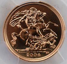 2004 Gold Half Sovereign PCGS MS69 1/2 Sov Great Britain UK BU