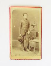 ANTIQUE PORTUGUESE CDV PHOTO PHOTOGRAPH YOUNG BOY IN A SUIT WITH A HAT AND CHAIR