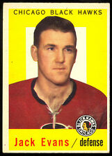 1959 60 TOPPS HOCKEY #30 JACK EVANS EX-NM CHICAGO BLACK HAWKS FREE SHIP TO USA