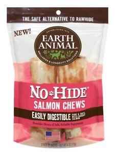 "Earth Animal NO HIDE SALMON DOG CHEWS 4"" 2 Pak Rawhide Alternative MADE IN USA"