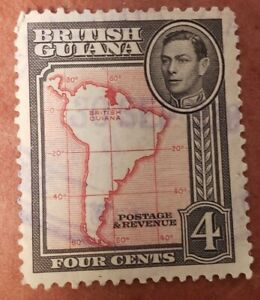 GM116 BRITISH GUIANA 4 CENTS POSTAGE & REVENUE USED STAMPS