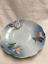 Saucer- Pink Flowers on Blue Background