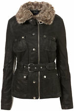 TOPSHOP Black Faux Fur Collar Belted Wax Short Parka Tartan Quilted Jacket 16 44