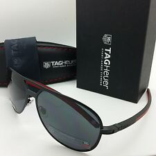 NEW AUTHENTIC Tag Heuer TH0986 101 Black Red Grey lens sunglasses aviator pilot