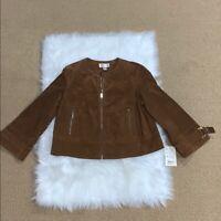 Bernardo Collection Women's Leather Suede Jacket Coat Tan Brown Sz L Full Zip