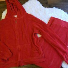 Victoria's Secret Red Vintage Velour Tracksuit Medium Studded