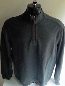 TOMMY BAHAMA  1/4 Zip Reversible Sweatshirt Cut Sweater Gray/Blue SZ MEDIUM