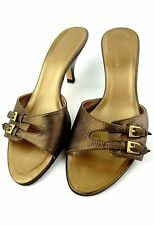 FACONNABLE Italy Shoes SIZE 5.5M 5 1/2 Bronze Buckle Leather Kitten Heels Slides