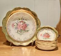 Antique Dresden Porcelain Gold Floral 1 Serving Bowl 6 Salad Dessert Bowls