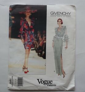 Vogue 1580 Givenchy Vintage sewing pattern dress with ruffle size 12-14-16 uncut