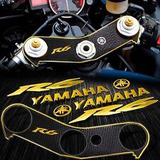"Handle Bar Yoke Cover Black+Chrome Gold 6"" Logo+Emblem Sticker for 06-16 YZF R6"
