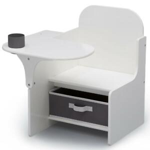 White Kids School Table Desk And Chair with Storage Bin Box Set For Girls Boys