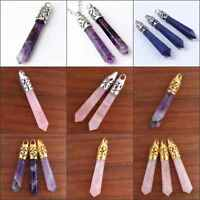 Silver/Gold Plated Different Stone Hexagon Pendulum Stone Pendant Jewelry