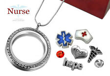 NURSE 30mm Crystal Memory Locket Pendant BLUE Floating Charms, Sterl Pl Necklace