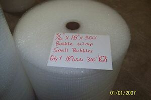 """3/16"""" WP small Bubble Cushioning Wrap Padding Roll 300' x 18"""" Wide 300FT Perf 12"""