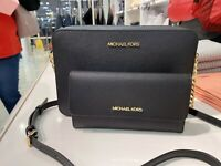 NWT Michael Kors MK Jet Set ITEM Large Saffiano Leather Crossbody Bag Black/Gold