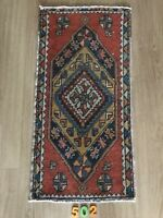"""Turkish Wool Small Area Rug, Vintage Hand Knotted, 3'1""""x 1'6"""", FREE SHIPPING!"""