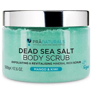 PraNaturals Dead Sea Salt Bath Body Scrub Mango & Kiwi Organic Mineral-Rich 500G