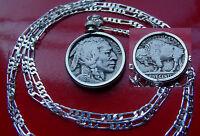 "pre 1937 Classic USA  Buffalo Nickel Pendant on a 30"" .925 Sterling Silver Chain"