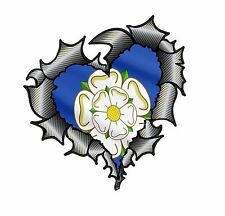 Forma De Corazón De Fibra De Carbono Fibra rasgada Metal & Yorkshire Rosa Bandera Pegatina de Coche