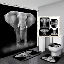 Grey Elephant Black Shower Curtain Bath Mat Toilet Cover Rug Bathroom Decor