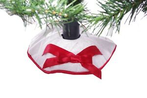 "Mini Miniature Christmas Tree Skirt White Red with Bow Satin 12"" NEW 12"" Satin"