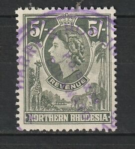 1955 Northern Rhodesia Bft:22 5/- Green QE2 Revenue. Very Fine Used.