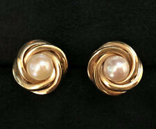 14K  Solid Yellow Gold 7.5mm White Pearl Love Knot Post Stud Earrings 5.4 Grams