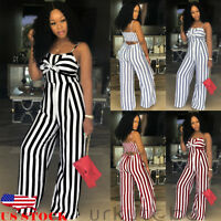 US Women Sleeveless Stripe Playsuit Ladies Summer Romper Long Jumpsuit Trousers